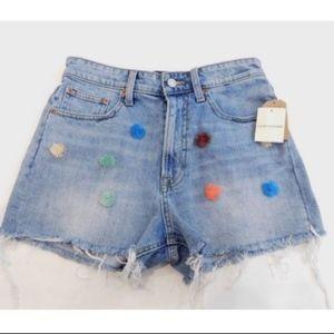 Lucky Brand Raw Edge Denim Jean Shorts Pom Poms 27
